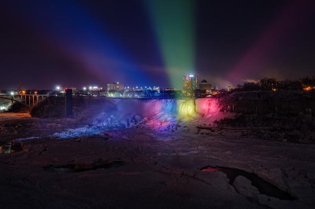 Colorful American Falls by night, Niagara falls - January 2014, Colorful and frozen American Falls by night, Colorful and frozen Niagara Falls, raibow and frozen Niagara Fall January 2014