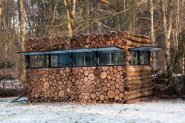 firewood stack log house, amazing architecture