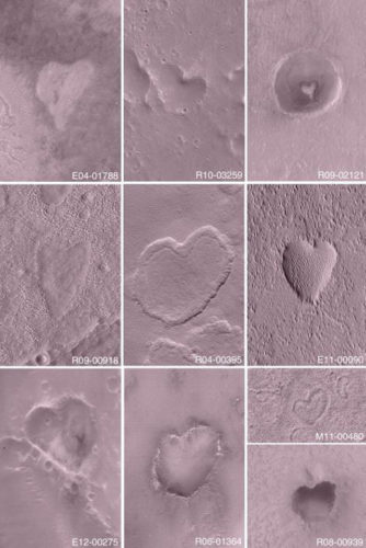 Mars's heart craters, heart craters on Mars, mars's hearts craters, heart-shaped craters on Mars photo, Heart craters on Mars photo collection. Photo: NASA