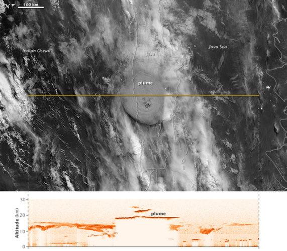 space photo of volcanic eruption, volcanic eruption space photo 2014, space view of Kelud volcanic eruption in 2014, kelud volcanic eruption photo from space, Space view of Kelud volcano eruption on February 13 2014. Photo: NASA