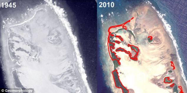 geological Oddity: new island formation in Nadikdik Atoll reappears, Nadikdik Atoll reappears, new islands in Nadikdik Atoll , new atoll formation in Marschall Islands, Marshall Islands formation, new island formation, atoll formation, new island reappears in Pacific, pacific island reappears, new island formation in Pacific, New island formation in Pacific atoll February 2014. Photo: Geomorphology, Formation and adjustment of typhoon-impacted reef islands interpreted from remote imagery: Nadikdik Atoll, Marshall Islands