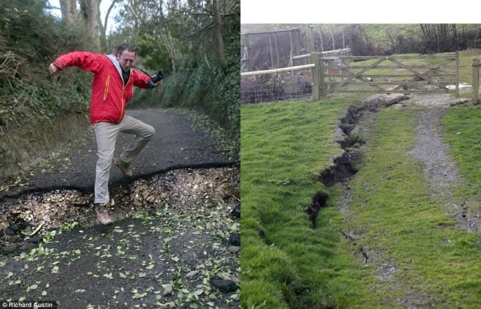 Earth cracks open up in fields and destroy roads in Dorset 2014, Earth crack Dorset 2014, Earth crack UK, UK storms 2014, storm uk 2014 create cracks in the ground in Dorset, dorset homes in danger because of large cracks in the ground, DDorset huge cracks 2014, huge earth crack formation UK 2014