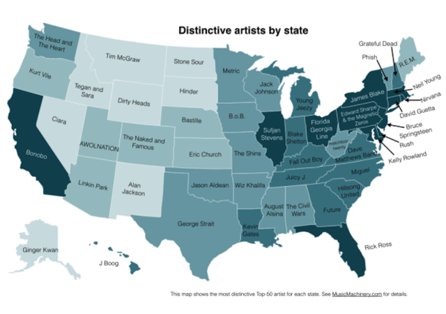 what is the distinctive music of your state, what is your state music, what music artists is popular in your state, What music is popular in your state?, This map shows what music is popular in your state. Photo:  Paul Lamere, music state by state, a map of music in your states,map of the most popular music in each state, A map of music that's popular in your state, distinctive music artist per state, This map shows what music artist is popular in your state. Photo:  Paul Lamere