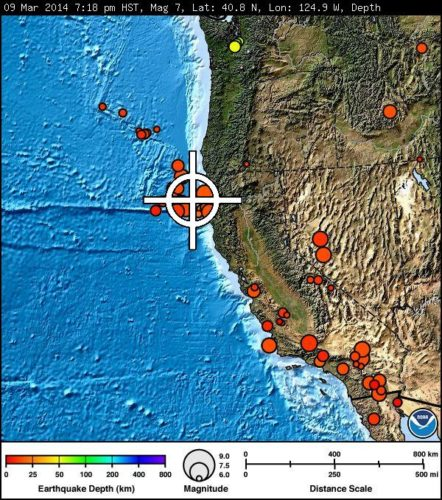 6.9 magnitude earthquake off coast of California - March 10 2014. Photo: PTWC, california earthquake march 2014, california earthquake, eureka earthquake march 2014, us earthquake march 2014, powerful california quake march 10 2014, us quake march 2014, usa quake march 2014, map of us fault lines march 2014, 6.9 mag quake strikes off california coast - march 10 2014
