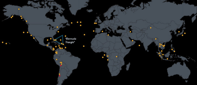"map of All the aircrafts that have mysteriously vanished since 1948, map of mysteriously vanished plane around the world, All the aircrafts that have mysteriously vanished since 1948. Photo: Bloomberg, Where Could Malaysian Flight 370 Be?, where is Malaysian flight 370?, Dozens of Planes Have Vanished in Post-WWII Era, Some 83 aircraft have been declared ""missing"" since 1948, large aircrafts disappearances and searches since 1948,"