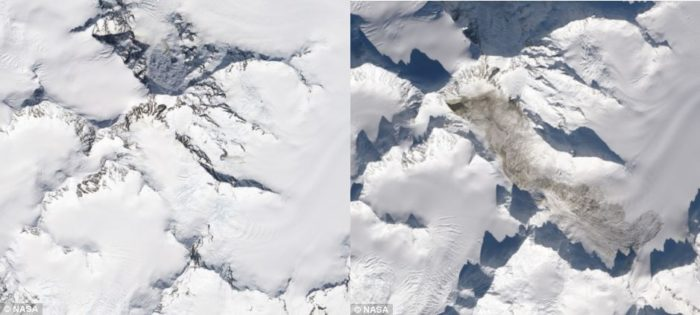 Mount La Perouse landslide, Mount La Perouse landslide february 2014, seismic data to locate huge landslide, NASA Mount La Perouse landslide Alaska before (left) and after (right) pictures, Mount La Perouse landslide Alaska before (left) and after (right) pictures, Mount La Perouse landslide Alaska before and after photo, photo of Mount La Perouse landslide Alaska before and after