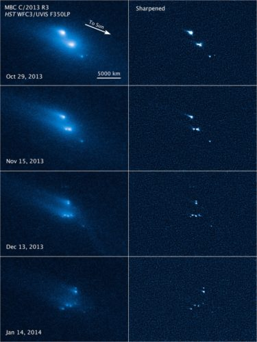 asteroid desintegration, hubble asteroid desintegration, hubble photo of asteroid desintegration, first ever seen asteroid desintegration in space, asteroid desintegration in space caught by hubble, Mysterious Asteroid Desintegration Captured by HUBBLE Space Telescope. Photo: NASA, ESA, D. Jewitt (UCLA)