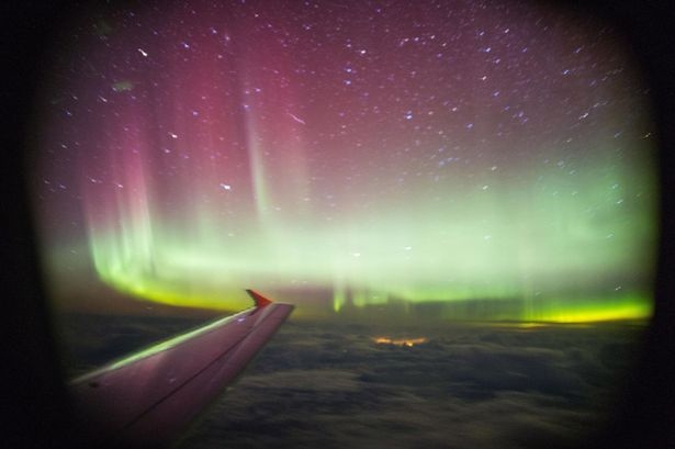 Northern lights, These amazing northern lights were taken during BA flight over UK - March 2 2014. Photo: PA, aurora borealis, Northern lights from plane photo 2014, aurora borealis from plane photo 2014, Northern lights image from plane march 2014, aurora borealis image from plane march 2014, Northern lights during BA flight over UK - March 2 2014, Amazing Northern Lights Image Captured From a Plane Over UK - March 2 2014