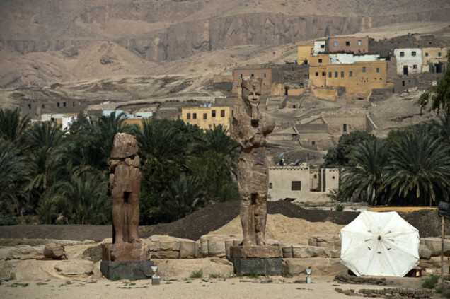 Two restored statues of Amenhotep III unveiled in Luxor - March 2014, Two restored statues of Amenhotep III unveiled in Luxor on March 23, 2014, new statues of pharaoh in Luxor, new statues of pharaoh in egypt, new statues of pharaoh in luxor egypt, new statues of  Amenhotep III unveiled in Luxor, restored statues of Amenhotep III unveiled in Luxor egypt, egypt new statues photo, egypt new pharaoh statues 2014, new ancient statues in Egypt march 2014