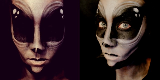 alien face make-up job, Alien face make-up job: Pretty freaky when the artist MissyDeanna opens her eyes!, alien before and after, alien job before and after, she looks like an alien: bestmake-up art jobs