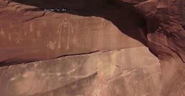 Ancient petroglyphs found by drone in Utah's remote canyon. Photo: Youtube, ancient petroglyph Utah drone, Ancient petroglyphs found by drone in southern Utah march 2014 video, drone finds remote petroglyphs in Utah march 2014