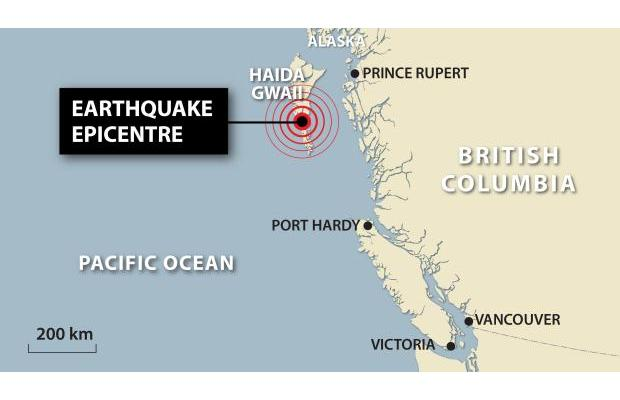 earthquake haida Gwaii 2012, map of the Haida Gwaii earthquake of 2012 soun of earthquake, earthquake sound