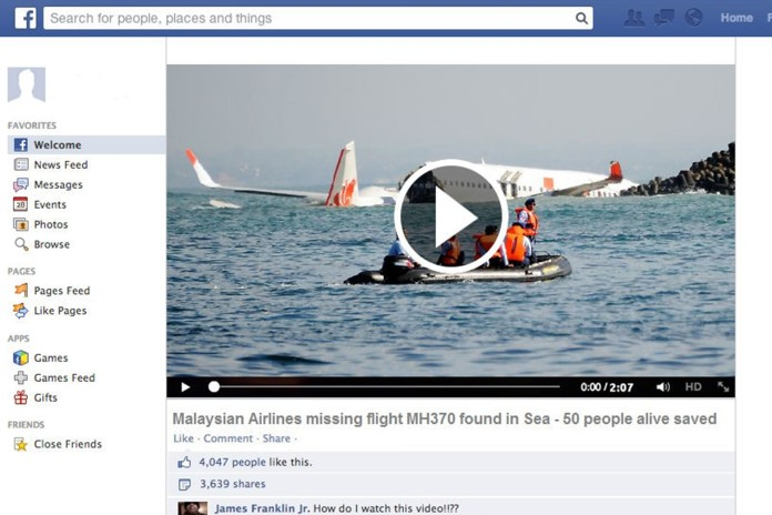 fake malaysia airline link, Fake Malaysia Airlaine links on Facebook, Viral Facebook posts claiming the missing Malaysia Airlines MH370 has been found are used by hackers to spread malware, fake malaysia airline twitter link, malaysia airline fake, malaysia airline conspiracy, malaysia airline, malaysia airline terrorist attack, malaysia airline disappear, malaysia airline fake facebook and twitter