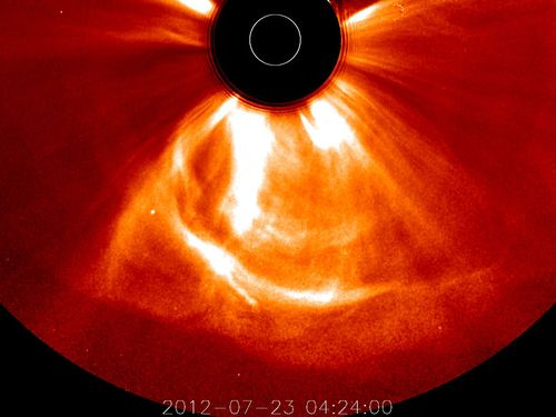 Fastest CME ever recorded, fastest coronal mass ejection video, what is the speed of the fastest coronal mass ejection ever recorded, Fastest CME, Fastest CME video, Fastest CME STEREO, solar storm video, fastest coronal mass injection ever recorded video, Fastest CME ever recorded, Observations of an extreme storm in interplanetary space caused by successive coronal mass ejections, what creates CME, How are large CME created?,  solar eruption, solar storm, fastest solar storm, fastest solar coronal ejection, study on fastest, Image of the fastest solar coronal eruption on July 23, 2012, at 12:24 a.m. EDT, how form large CME?