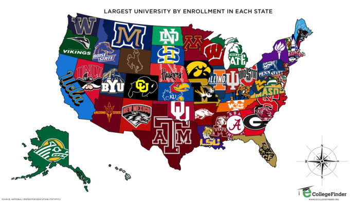 Study Map Of Usa.Map Of The Largest Universities By Enrollment In Each Us State