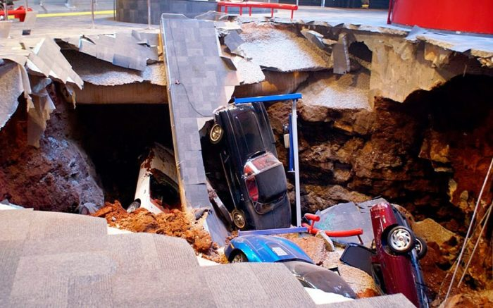 sinkhole corvette 2014, A National Corvette Museum handout photo shows the 40-foot sinkhole that opened up under the museum floor, swallowing eight Corvettes, including the historic 1992 White 1 Millionth Corvette Picture: REUTERS, sinkhole, sinkhole photo, amazing sinkhole, sinkhole uk 2014, sinkhole photo, photo of sinkholes, largest sinkholes around the world, photo of sinkhole around the world, sinkhole photography, sinkhole picture, sinkhole compilation, sinkhole,
