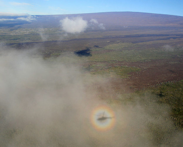 solar glory helicopter, A solar glory appears around a helicopter around Hawaii, A solar glory appears around a helicopter around Hawaii. Photo: Wikipedia solar glory on earth, photo of solar glory