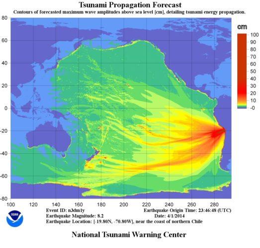 tsunami propagation forecast for tsunami created by 8.2 magnitude quake in Chile - April 2014, NOAA tsunami propagation chile april 2014 forecast video, video of NOAA tsunami propagation forecast chile april 2014, tsunami propagation forecast triggered by the 8.2 magnitude earthquake in Chile video april 2014, tsunami propagation forecast video, video of tsunami propagation forecast in chile 2014, video of tsunami propagation forecast triggered by the 8.2 magnitude earthquake in Chile, tsunami propagation forecast triggered by the 8.2 magnitude earthquake in Chile video, chile quake tsunami propagation forecast video april 2014, tsunami chile april 2014 propagation video, Chile 2014 tsunami propagation forecast NOAA, This map shows the tsunami propagation forecast triggered by the 8.2 magnitude earthquake in Chile