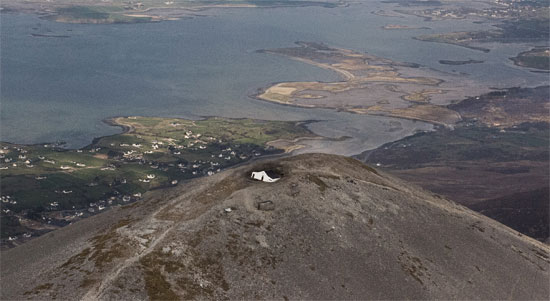 """The church called  """"Teampall Phadraig"""" was swallowed by sinkhole on holy mountain named Croagh Patrick in Ireland - March 30 2014, the Reek, the Reek chapel swallowed by a sinkhole, sinkhole swallows chruch on the Reek march 2014, church swallowed by sinkhole on holy mountain in Ireland on March 30 2014, chapel on Croagh Patrick swallowed by sinkhole, sinkhole swallows church on holy site in Ireland march 2014, Teampall Phadraig chapel swallowed by huge sinkhole march 2014, The church called  """"Teampall Phadraig"""" was swallowed by sinkhole on holy mountain named Croagh Patrick in Ireland - March 30 2014. Photo: Áine Ryan"""