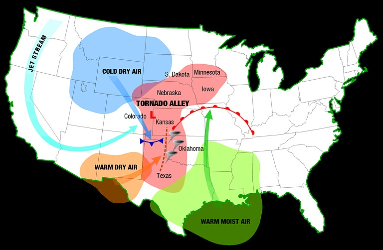 tornado alley map, map of tornado alley, tornado alley usa, where is tornado alley,