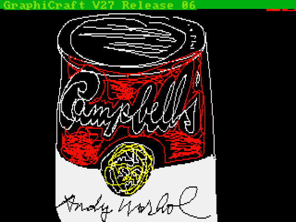 new Andy Warhol art found on amiga disks, andy warhol and amiga, work of andy warhol discovered on amiga disks, Cambell's can by Andy Warhol found on Amiga disks. Photo: Andy Warhol Museum