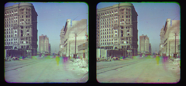 First color photos of 1906 San Francisco earthquake. Photo: Frederick Eugene Ives, photo 1906 SF earthquake color pictures, color photographs of 1906 San Francisco earthquake aftermath