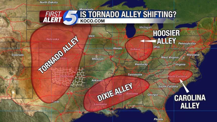 tornado alley map, dixie alley map, tornado and dixie alleys map, map of tornado alleys in USA, where are US tornado alley