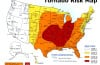 US tornado risk map: This map features the US regions which are prone to strong winds and destructive twisters., tornado risk map, tornado risk map usa, us tornado risk map, us tornado map, map of tornado in the usa, This is a map of the highest tornado risk areas in the United States, where are the tornado the highest in the usa, highest risks linked to tornado in the usa, tornado risk zones map, us tornado risk zones, us states prone to high winds and tornadoes, which are the us states most prones to tornadoes, what us states are prone to tornadoes and high-winds