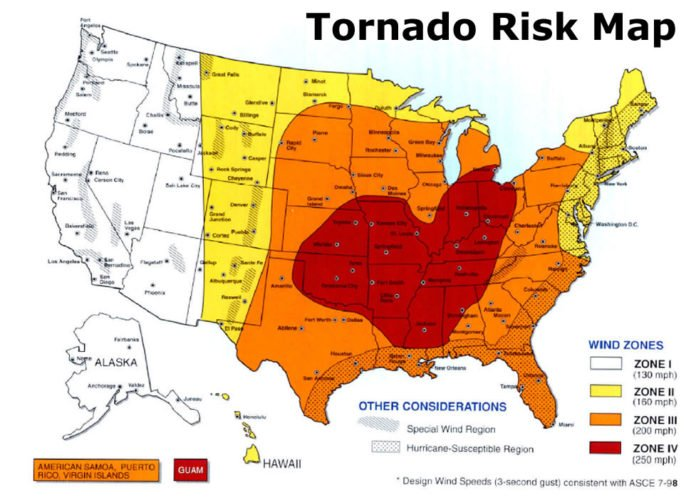 US Tornado Alley Maps Show The Tornado Risk Regions In The USA - Maps of usa