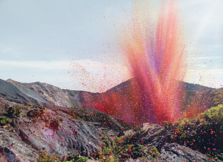 amazing ads: volcano spewing flowers, volcano spews flowers instead of lava, why is this volcano spewing flowers?, volcano spews flowers, flowers spewed by volcano, new sony ad: volcano spews flowwers instead on lava, 4K Ultra HD TV advertising: volcano spews petal flowers instead of lava 1