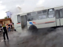 hot geyser hits bus in russia, video of hot water geyser hitting bus and burning passengers may 2014, hot geyser hits bus in Russia video may 2014, Passengers Boiled Alive - Bus Drives Through Boiling Water Geyser. Photo: Youtube screenshot