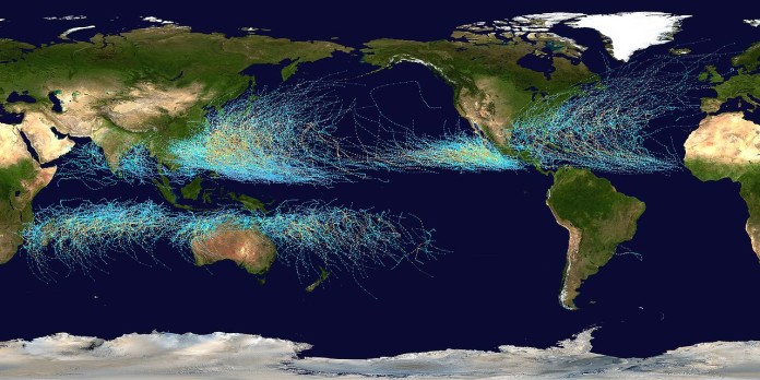 Hurricanes and typhoons are migrating from the tropics toward the North and South poles, migration of tropical storms to the poles, Hurricanes and typhoons are migrating from the tropics toward the North and South poles due to climate change, climate change consequence: Hurricanes and typhoons are migrating from the tropics toward the North and South poles, tropical storms migration, tropical storms migration toward the poles, why do tropical storms migrate, what are the cause of tropical storm migration towrds poles, Hurricanes on the Move! Tropical Storms Shift Toward Poles, Climate science: Shifting storms, shifting tropical storms, Tropical storms and hurricane tracks from 1983 to 2005, tropical storm map, Tropical storm (hurricanes and typhoons) tracks between 1985 and 2005. By: NASA, The poleward migration of the location of tropical cyclone maximum intensity