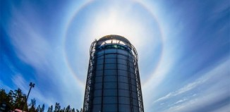 best solar halo photo, best picture of solar halo may 2014, best image solar halo sweden may 2014, best image of solar halo 2014, best solar halo picture 2014, sun halo may 2014, strong solar halo over Östersund in Sweden in May 2014, This intense solar halo surrounds Arctura Water Tank in Sweden (named after a star). Star communication? Photo: Göran Strand