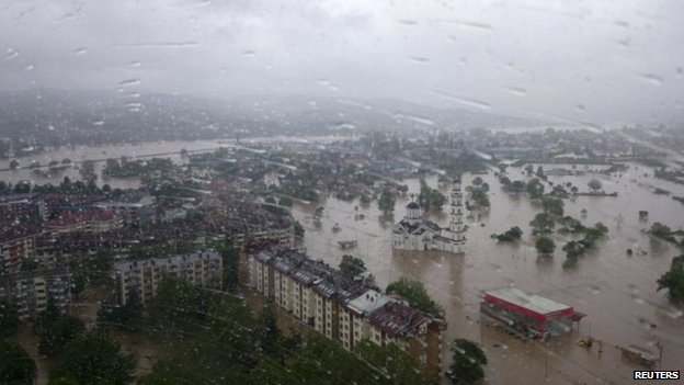 video of flash flood in Doboj may 2014, Aerial shot of the Doboj area 15/05/2014 As waters began to recede in Doboj, authorities found more bodies. Photo: Reuters