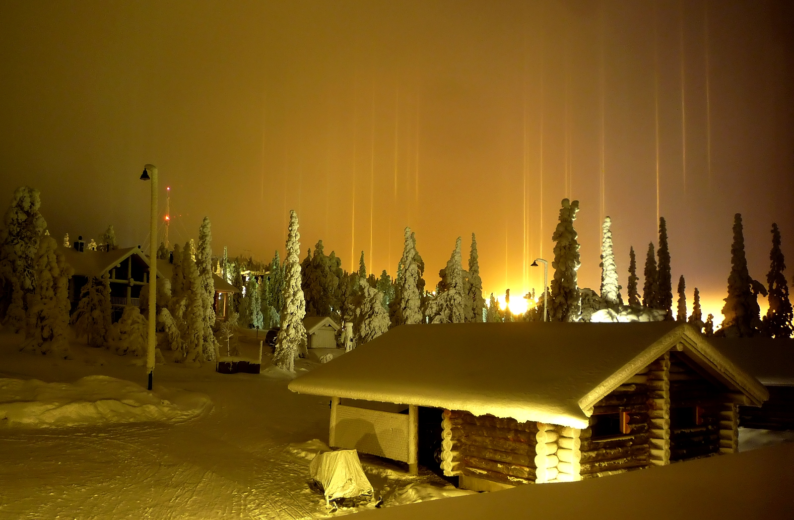 Incredible Natural Phenomenon - Light Pillars in Finland, incredible natural phenomena: light pillars, Light Pillars, Light columns, strange light phenomenon, strange light pillars, amazing light pillars, best light pillars photo, amazing photo of light column, Incredible Natural Phenomenon - Light Pillars in Finland
