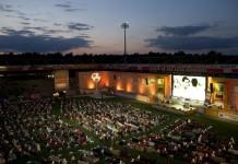Berlin's Alten Forsterei stadium has been transformed into a giant living room for Brazil 2014, Alten Foersterei Stadium