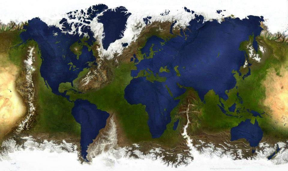 inverted world map, see what the world would look like if reversed, inverted map of the world, consequences of inverted map of the world on climate and tectonics, what would happen if world was inverted?, WHAT HAPPENS WHEN YOU TURN THE WORLD INSIDE OUT?, map of earth but inverted, what if continents were oceans and oceans continents, map world, world map, WHAT HAPPENS WHEN YOU TURN THE WORLD INSIDE OUT?, Map of the WORLD inside out where Geography is re-defined so that the continents are oceans, the oceans are continents, and various ranges of mountains that should be submerged are emerged. Image: Deviant Art
