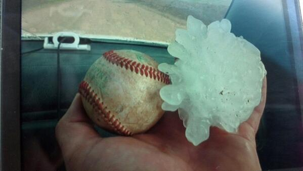 hail nebraska june 2014, monstruous hail nebraska june 2014, apocalyptic storm nebraska june 2014 photo and video, huge hail strike Nebraska june 2014 video, Baseball-sized hail strikes Nebraska on June 3 2014. Imagine getting one of these on your head! Photo: Twitterer: KNEB Storm Center