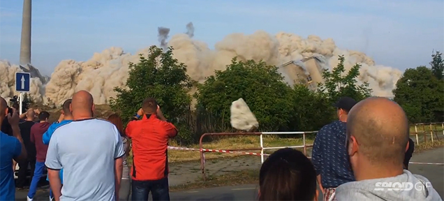 Guy gets almost killed by rock flying from demolition, Guy gets almost killed by rock flying from demolition video, demolition gone wrong in czeck republic video, video demolition czeck republic, czeck republic bad demolition video,  demolition almost kills man in czeck republic video, Demolition almost kills man in Czeck Republic. Look at the video below!