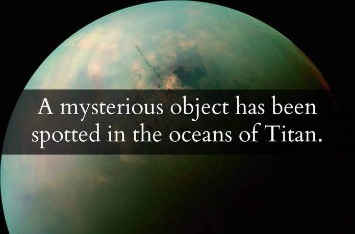 mystery blob titan sea june 2014, mysterious feature titan sea june 2014, mysterious transient object in Titan sea, titan mystery object june 2014, mystery transient object spotted in Titan Sea, weird object on titan, strange blob and transient object in Titan sea, unknown object on Titan, unexplained object spotted on Titan, titan alien object sea, A mysterious transient object was spotted in a Titan sea by Cassini.