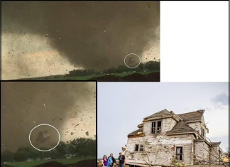 unreal: twin pilger tonadoes sucked a house into the air before it came crashing down, video of house flying during Pilger twin tornado, EF4 pilger twin tornadoes flying home june 2014, pilger twin tornadoes flying home gif, pilger twin tornadoes flying home video, EF4 pilger twin tornadoes flying home, pilger tornado lauches a house in the air, pilger nebraska tornado news, pilger nebraska twin tornado news, house literaly flies during EF4 Pilger tornado, pilger twin tornadoes, One of the rare twin Pilger tornadoes sucked a house into the air. Photo: TVNweather, Krista Giese