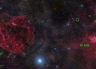 Fast radio burst alien signal Aricebo Telescope july 2014, The First fast radio bursts in the northern hemisphere were captured by the Aricebo Telescope and deepens astrophysics mystery. This image presents the area in the constellation Auriga where the fast radio burst FRB 121102 (green circle) has been detected. Image: Rogelio Bernal Andreo, signals and sparks from outer space, ufo communication, alien signals, mysterious and new alien signals, mysterious signals from outer space, fast signal from outer space, new discovery of fast radio burst in northern hemisphere, scientists deepens astrophysics mystery with discovery of first fast radio burst in northern hemisphere, mysterious alien signal, alien signal from outer space, First Fast Radio Burst Discovered in the Arecibo Pulsar ALFA Survey, Radio-burst discovery deepens astrophysics mystery, intergalactic radio bursts, Space Mystery: Alien Fast Radio Bursts Deepens Astrophysics Mystery, Space Mystery: Alien Fast Radio Bursts Deepens Astrophysics Mystery. First Fast Radio Burst Discovered in the Arecibo Pulsar ALFA Survey,