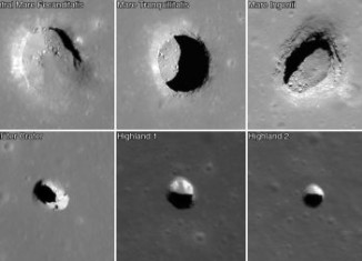 strange giant holes on moon surface, mysterious giant holes moon surface, giant pit moon, mysterious holes moon, strange holes moon, huge crater hole on moon, sinkhole clusters moon surface, Giant mysterious holes are clustering the surface of our Moon. Speculations about their formation range from meteor impact, underground cave to alien/Nazi UFO bases. Photo: NASA, What's hiding behind these giant holes on the Moon?