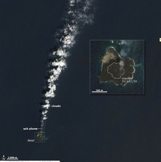 Nishino-shima, niijima, Nishino-shima photo, niijima photo, evolution of new volcanic island in Japan (photo), The new island Nishino-shima as seen from space in July 2014. Photo: NASA, new volcanic island Japan Nishino-shima, More than 6 months after it broke the surface of the Pacific Ocean, Nishino-shima (once called Niijima) continues to grow. The new land surface is now several times larger than original Nishino-shima, which formed in 1973. The islets merged in December 2013. This natural-color image was collected by the Operational Land Imager (OLI) on Landsat 8 on July 4, 2014. It shows a plume of ash, steam, and other volcanic gases streaming from a crater in the center of the island., geology oddity, volcanic island, new volcanic island, earth oddity, strange things around the world, volcano activity creates new island off Japan, Japan new island volcano, japan new volcanic island, This space photo taken in April 2014 shows the moment the two magamtic islands merged. Photo: NASA