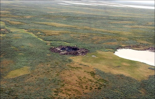 second mysterious crater found in Yamal july 2014, second giant hole discovered in tundra of yamal peninsula, yamal peninsula second crater, second hole discovered in yamal peninsula july 2014, giant hole discovered in siberia, A second mysterious crater was discovered in Siberia by reindeer herders. Photo first giant sinkhole discovered one week ago in the Yamal Peninsula.
