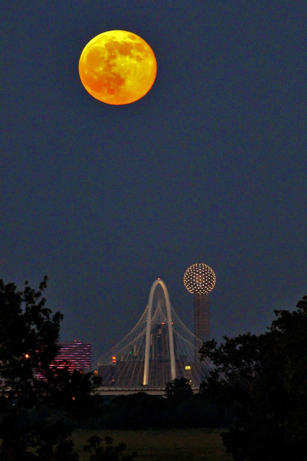 supermoon, super moon, supermoon photo july 2014, supermoon july 12 2014 dallas, supermoon photo july 2014 dallas, dallas meteor supermoon photo, photo of of meteor during supermoon july 12 2014, meteor supermoon july 2014 photo, photo dallas supermoon meteor photo july 2014,  super moon meteor july 12 2014, Supermoon photographed by Ben Sandifer rising over the skylines of Dallas on July 12, 2014