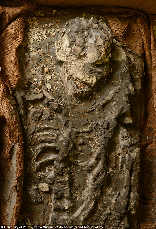 Scientists discover 6,500-year-old skeleton had been hiding in the basement of a Philadelphia museum for 85 years, Researchers at Philadelphia's Penn Museum have re-discovered a 6,500-year-old human skeleton inside a storage room that had been tucked away and forgotten since the 1930's, 6500 year-old ancient skeleton discovered in philadelphia museum august 2014, Ancient Skeleton rediscovered at Philly museum, The Penn museum announced on August 5 2014 that it had rediscovered in its own storage rooms a 6,500-year-old human skeleton believed to have been a man at least 50 who stood 5 feet, 9 inches tall. Photo: Matt Rourke, Ancient Skeleton rediscovered at Philly museum, 6,500-year-old human remains are displayed at the The Penn Museum, part of the University of Pennsylvania, Tuesday, Aug. 5, 2014, in Philadelphia. The museum announced Tuesday that it had rediscovered in its own storage rooms a 6,500-year-old human skeleton believed to have been a man at least 50 who stood 5 feet, 9 inches tall. The remains were originally excavated from southern Iraq around 1930. Museum officials said the complete human skeleton had been stored in a coffin-like box but with no trace of identifying documentation. (AP Photo/Matt Rourke), 6,500-year-old human remains are displayed at the The Penn Museum, archeological discovery, skeleton in Museum, museum acheology, weird things, strange things, amazing things, archeology, penn museum, philadelphia museum, august 2014