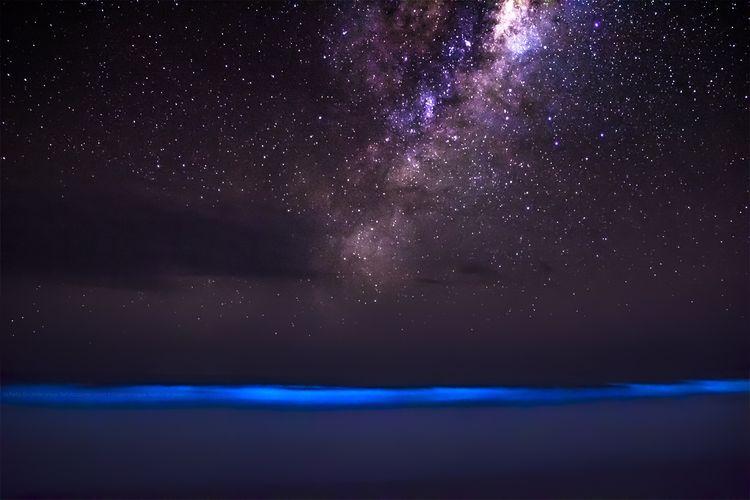 bioluminescence, bioluminescence photo, photo of bioluminescence, milky way and bioluminescence, bioluminescence and glowing milky way, amazing bioluminescence photo, amazing nature phenomena, amazing nature phenomena photo: bioluminescence and milky way, milky way bioluminescence photo, This amazing picture features two amazing nature phenomenon: Bioluminescence glowing into Milky Way... The bioluminescence galactic glow!, bioluminescence, glowing blue ocean, milky way, strange nature phenomena, amazing nature phenomenon, Bioluminescence Galactic Glow, amazing nature phenomenon photo, nature phenomenon photography