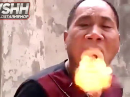 video of chinese man exhales smoke and fire - dragon man, chinese man exhales smoke and fire - dragon man video, chinese man exhales smoke and fire - dragon man, video man exhales fire and smoke, dragon man exhales smoke and fire fron sawdust video, chinese man exhales smoke and fire - dragon man, dragon man, man exhaling fire and smoke, this man exhales smoke and fire, Is this DRAGON MAN? Chines kung-fu master exhales smoke and fire in this amazing video. So what's the trick behind this stunt?