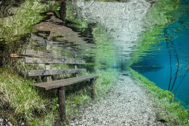 Mystery Places On Earth: Discover The Underwater Park At Grüner See (Green Lake) , Grüner See, Gruener See, Green Lake, Grüner See photo, Grüner See video, underwater park at grüner see, submerged park at grüner see, dive at Green lake, discover underwater park at Grüner see, green lake underwater park, You do not expect what you will discover under the Grüner See! A submerged park, From April to July, the Tragöß park is submerged by the Grüner See (Green Lake) in Austria, In and out. The park in Tragöss becomes underwater as melt waters engulf the Green Lake, Follow the path: Walkable during winter, the path is only swimmable in summer time at Green Lake., In winter, you can sit on this bank sitting around the Gruener See (Green Lake). In summer, it is sumerged.